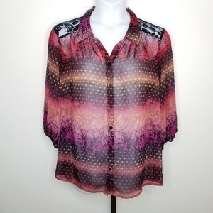 Fig & Flower 2X Sheer & Lace Button Front Blouse